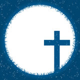 Tarjeta religiosa de la cruz y del claro de luna Fotos de archivo