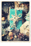 Tarjeta retra Cajas festivas con el copo de nieve de la decoración Nieve exhausta Imágenes de archivo libres de regalías