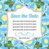 Tarjeta retra con el mensaje sobre las flores azules Imagen de archivo
