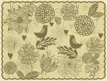 Tarjeta retra con invector de los pájaros y de las flores   Imagen de archivo
