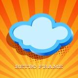 Tarjeta retra con la muestra de la nube Imagen de archivo libre de regalías