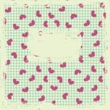 Tarjeta retra con los corazones Imagen de archivo libre de regalías
