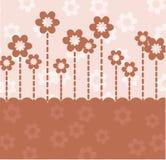 Tarjeta retra de Brown con las flores Fotos de archivo libres de regalías