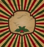 Tarjeta retra de la celebración del vintage con la baya del acebo Foto de archivo