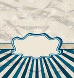 Tarjeta retra de la celebración del vintage con los copos de nieve Imagen de archivo libre de regalías