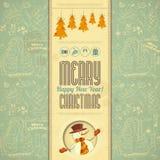Tarjeta retra de la Feliz Navidad con el muñeco de nieve Imagen de archivo libre de regalías