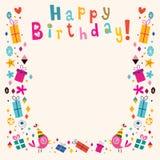 Tarjeta retra de la frontera del feliz cumpleaños stock de ilustración