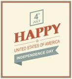 Tarjeta retra de la impresión para el Día de la Independencia Foto de archivo