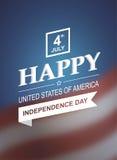 Tarjeta retra de la impresión para el Día de la Independencia de América Foto de archivo