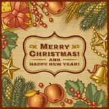 Tarjeta retra de la Navidad imagen de archivo libre de regalías