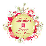 Tarjeta retra de la Navidad verde Imagen de archivo