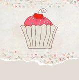 Tarjeta retra de la tarjeta del día de San Valentín con la magdalena. EPS 8 Fotos de archivo