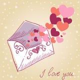 Tarjeta retra de la tarjeta del día de San Valentín de la carta de amor Foto de archivo