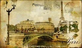 Tarjeta retra de París Fotos de archivo