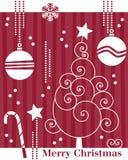 Tarjeta retra del árbol de navidad [1] stock de ilustración