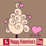 Tarjeta retra del día de tarjeta del día de San Valentín [2] Imagen de archivo libre de regalías