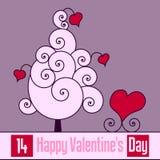 Tarjeta retra del día de tarjeta del día de San Valentín [1] Imagen de archivo libre de regalías