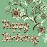 Tarjeta retra del feliz cumpleaños del vintage, con las fuentes, el marco del grunge y los galones Flores hermosas Vector Fotos de archivo libres de regalías