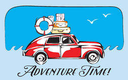 Tarjeta retra del viaje Automóvil viejo con letras del tiempo del equipaje y de la aventura del viaje Ilustración del vector Imágenes de archivo libres de regalías