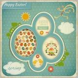 Tarjeta retra del vintage con el conjunto de Pascua