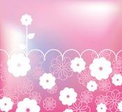 Tarjeta retra rosada con las flores Imagen de archivo libre de regalías