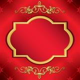 Tarjeta roja brillante con el marco de centro del oro Imagen de archivo libre de regalías