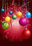 Tarjeta roja con las bolas coloridas de la Navidad stock de ilustración
