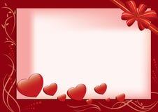 Tarjeta roja con los corazones y la flora Fotografía de archivo libre de regalías