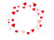 Tarjeta roja de la acuarela del corazón Fotos de archivo