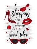 Tarjeta roja de la moda que hace compras Fotos de archivo libres de regalías