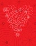 Tarjeta roja de la tarjeta del día de San Valentín con el corazón floral Fotografía de archivo libre de regalías