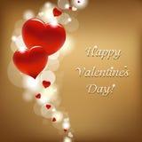 Tarjeta roja de los corazones Imagen de archivo libre de regalías