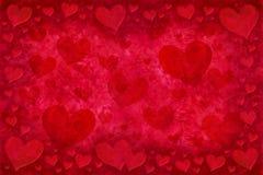 Tarjeta roja de los corazones Imágenes de archivo libres de regalías