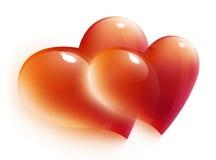 Tarjeta roja de los corazones para el día de tarjeta del día de San Valentín Foto de archivo libre de regalías