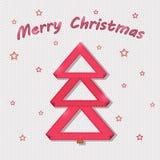 Tarjeta roja del árbol de navidad Fotografía de archivo libre de regalías