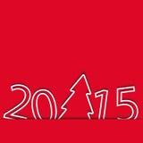 Tarjeta roja del Año Nuevo 2015, árbol de navidad de papel Foto de archivo