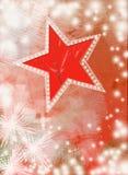 Tarjeta roja del Año Nuevo del vintage con la estrella y los copos de nieve Foto de archivo libre de regalías