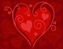 Tarjeta roja del corazón del día de tarjeta del día de San Valentín que remolina Imagen de archivo libre de regalías