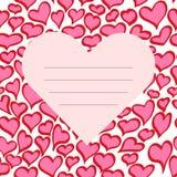 Tarjeta roja del día de la tarjeta del día de San Valentín s del vector Fotografía de archivo