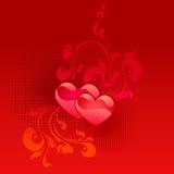 Tarjeta roja del día de tarjeta del día de San Valentín Foto de archivo libre de regalías