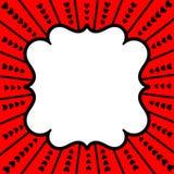 Tarjeta roja del día de tarjetas del día de San Valentín de los corazones del marco Imagen de archivo libre de regalías