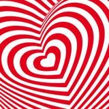 Tarjeta roja del día de tarjetas del día de San Valentín del corazón Imagen volumétrica tridimensional Imagen de archivo