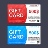 Tarjeta roja y azul de la plantilla de regalo 500 d?lares de vale Ilustraci?n del vector libre illustration