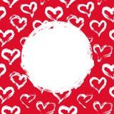 Tarjeta roja y blanca de los corazones Imagen de archivo