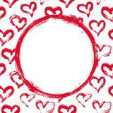Tarjeta roja y blanca de los corazones Fotografía de archivo libre de regalías