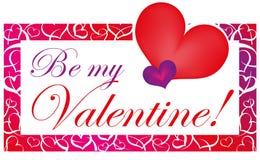 Tarjeta roja y púrpura de la tarjeta del día de San Valentín Imagen de archivo libre de regalías