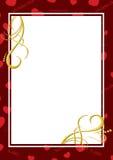 Tarjeta rojo oscuro con los corazones Imagenes de archivo