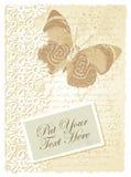 Tarjeta romántica con la mariposa Foto de archivo libre de regalías