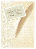 Tarjeta romántica con la pluma Fotos de archivo