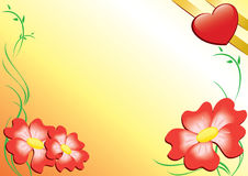 Tarjeta romántica con las flores Imagenes de archivo